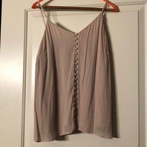Silky, taupe tank with buttons